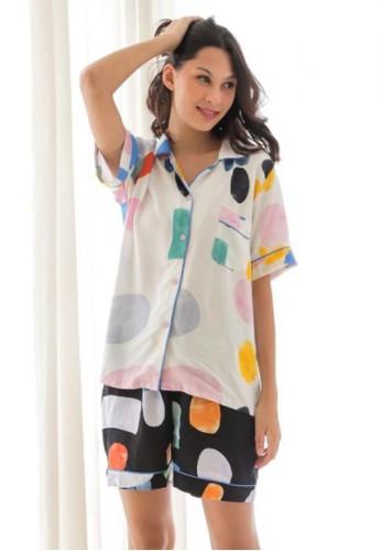 SECRET white Secret Charm Pyjamas Abstract Black & White Reniza Short Set F60F4AAC758FA8GS_1