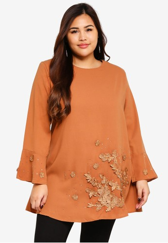 BYN brown Plus Size Muslimah Blouse A6F01AA28628EDGS_1
