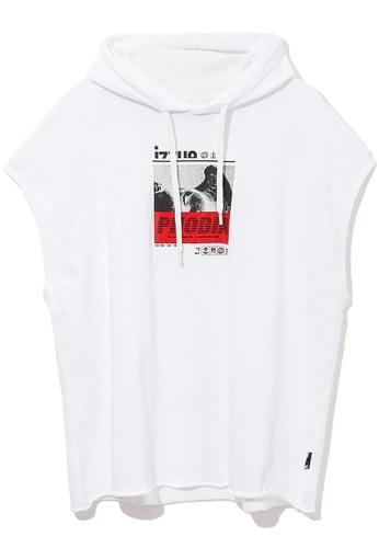 izzue white Phobia graphic hoodie 012C5AA26209B9GS_1