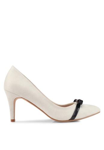 Velvet white Heels with Bow Detail 0999ESH0D94D34GS_1