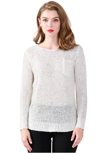 London Rag white Shayla Sequin Sweater BBE7CAA58163C4GS_1