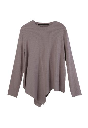 Giordano Ladies purple Small Cable Asymmetric Sweater B8249AA8D5DEA3GS_1