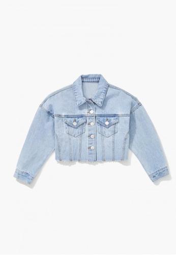 FOREVER 21 blue Raw-Cut Denim Jacket E1C34KABA0C4C3GS_1