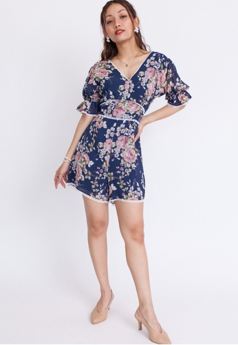 Hook Clothing multi and navy Lace Detail Floral Romper 831B9AAF15615CGS_1