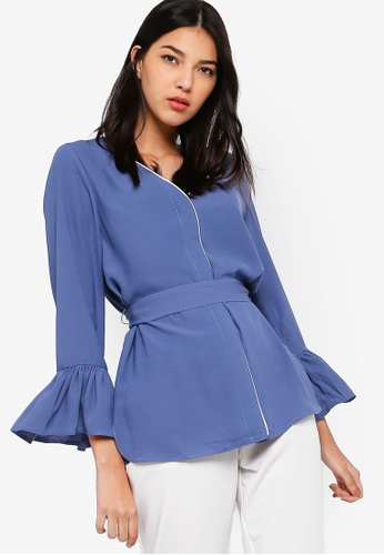 ZALORA blue and multi Long Sleeves With Contrast Piping 53913AA7E6EF5AGS_1