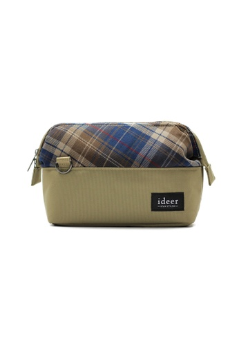 ideer beige Selden Almond Mirrorless Tartan Check Camera Cross Bag ID808AC67KSIPH_1