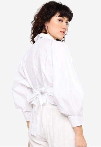 Urban Revivo white Tie Waist Shirt F4731AA15319DEGS_1