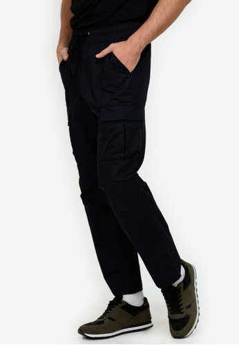 ZALORA BASICS black Drawstring Cargo Pants 06023AA0D0D51FGS_1