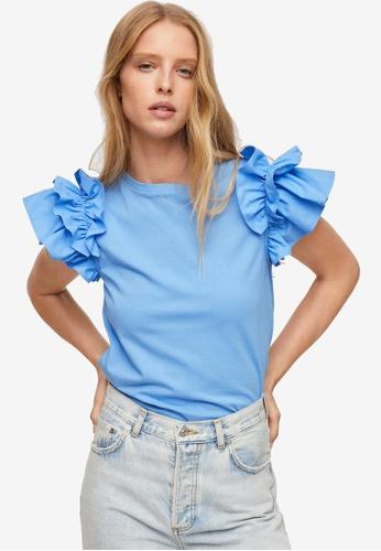 Mango blue Ruffled Sleeves T-Shirt 5BEC1AABCE2DE2GS_1
