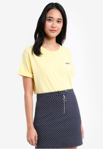 TOPSHOP yellow Sorry Not Sorry Slogan T-Shirt 85748AAE309040GS_1