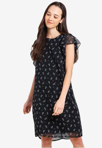 LC Waikiki 黑色 花卉褶飾洋裝 1B859AA84AA2A9GS_1