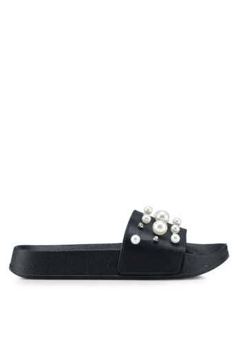 OVS black Rubber Sandals With Diamantes And Beads 19F5ASHD9D4DC4GS_1