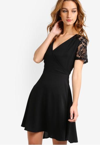蕾絲拼接短袖連身zalora時尚購物網評價裙, 服飾, 洋裝