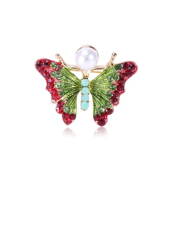 Glamorousky white Fashion and Elegant Plated Gold Butterfly Imitation Pearl Brooch with Red Cubic Zirconia 9C26CAC50E42D4GS_1