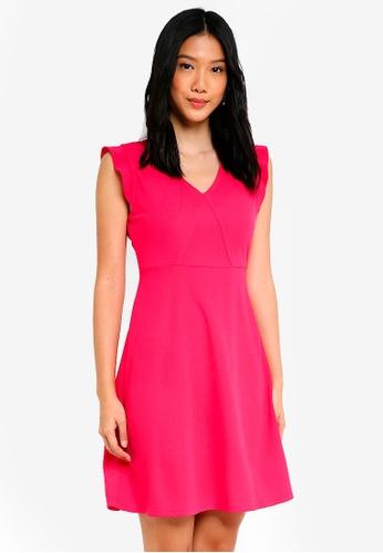 ZALORA BASICS purple V Neck Fit & Flare Dress 60F35AA9B45024GS_1