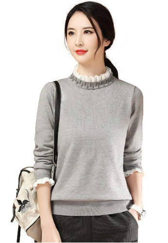 A-IN GIRLS grey Temperament Fake Two-Piece Lace Collar Sweater 6B701AAC121F8FGS_1