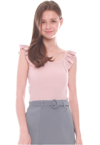 JOVET pink Frilled Knit Top 2816EAAAFB1761GS_1