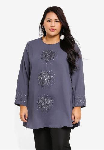 BYN grey Plus Size Muslimah Blouse 33FCAAAAC86DE7GS_1