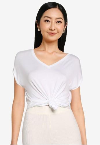 Noisy May white Nola Cap Sleeves V-neck Tee 8B19FAA05E570FGS_1