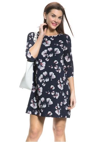 Mayarya green and navy Floral Print Maternity Shift Dress B00FCAA5F022FCGS_1