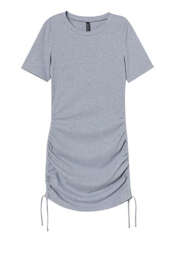 H&M grey Ribbed Jersey Dress 6056FAA11E9DFCGS_1