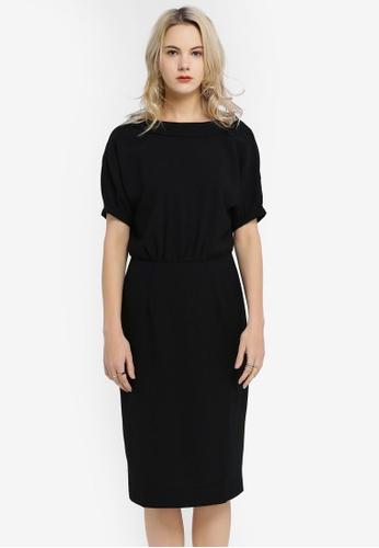 Hopeshow black Fitted Midi Dress D2FAFAA7D051F7GS_1