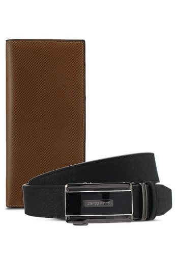 Swiss Polo black and brown Swiss Polo Belt & Wallet Gift Set SW912AC0SYLHMY_1