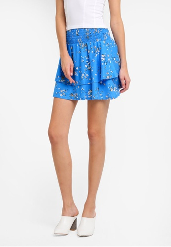 TOPSHOP blue Shirred Tier Ditsy Mini Skirt TO412AA0SLCMMY_1