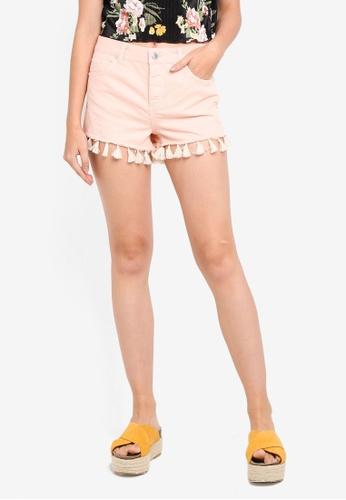 Miss Selfridge pink Pink Tassle Hem Shorts 8664FAA4B5CF7CGS_1