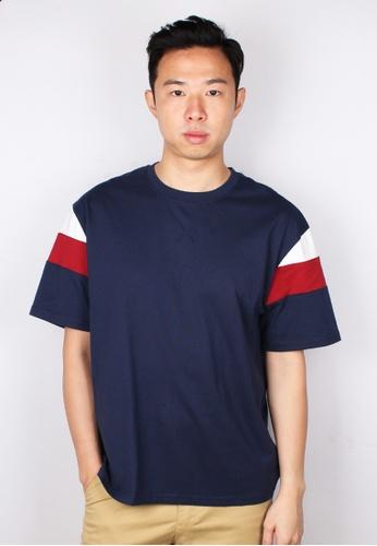 Moley navy Colour Block Oversized T-Shirt 98F04AAECBF0F5GS_1