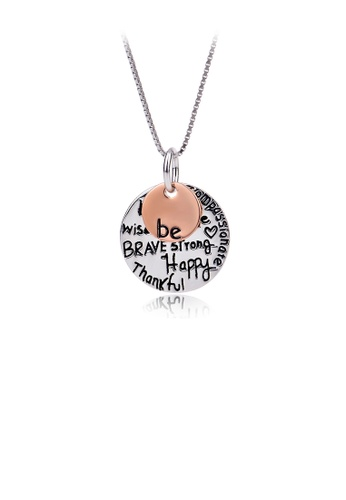 Glamorousky silver 925 Sterling Silver Simple Temperament English Lettering Geometric Round Pendant with Necklace 3E526ACC99E38EGS_1