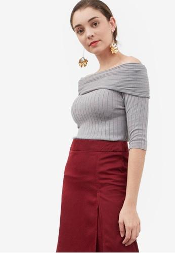 Berrybenka grey Griya Off Shoulder Knit Sweater CEA27AA2B16C93GS_1