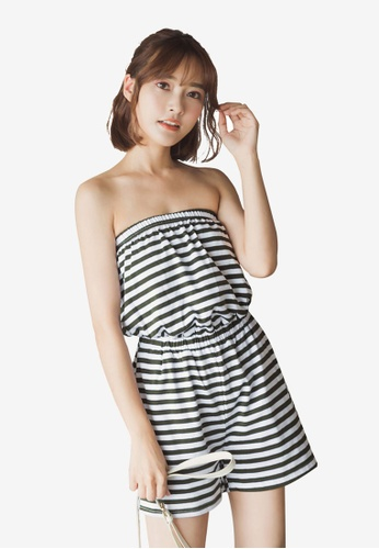 Tokichoi green Striped Romper 0584DAAD372E23GS_1