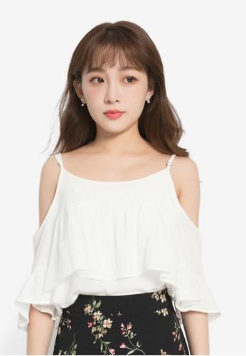 YOCO white Cold Shoulder Top YO696AA0S1D0MY_1