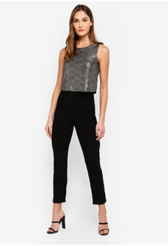 3d51af6517e 60% OFF Dorothy Perkins Metallic Double Layer Jumpsuit S  109.00 NOW S   43.90 Sizes 6 14 16
