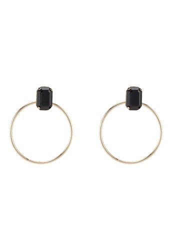 ALDO 黑色 鑽飾圓圈耳環 BDD7FACA364975GS_1