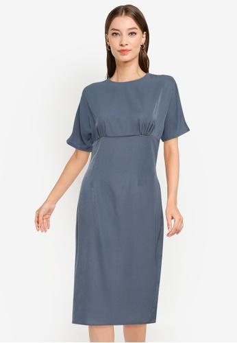 ZALORA WORK blue Wide Sleeves Dress 1DE72AA46E979FGS_1