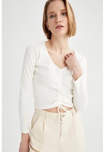 DeFacto beige Woman Knitted Long Sleeve T-Shirt 687ADAA7FCF7B1GS_1