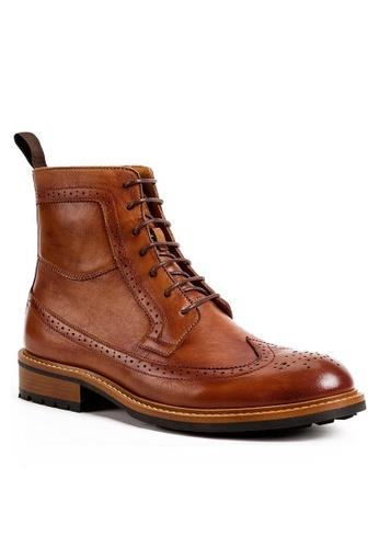 Twenty Eight Shoes Cognac Vintage Leather Brogue Boot G5007-9 BA148SH1BAB8E4GS_1