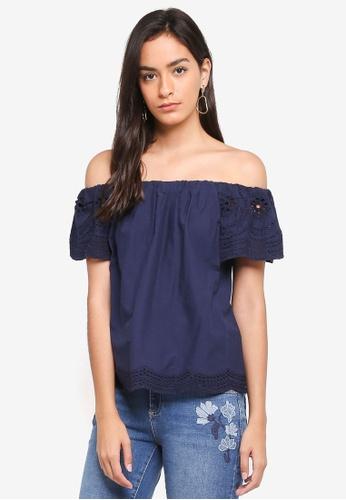 a08473c1c46 Buy Dorothy Perkins Navy Broderie Sleeve Bardot Top Online on ZALORA ...