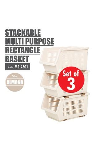 HOUZE [SET OF 3] HOUZE Stackable Multi Purpose Rectangle Basket (Almond) 7FED4HLD164591GS_1