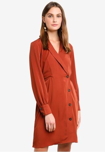 Vero Moda brown Pearl Button Long Sleeve Short Dress EFC28AA607FEE7GS_1
