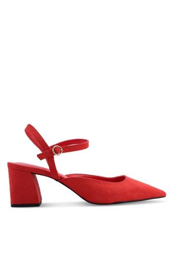 MANGO 紅色 尖頭繞踝高跟鞋 91538SHA23609CGS_1