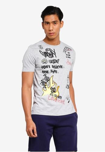 OVS 灰色 印花T恤 A2A35AA536D518GS_1