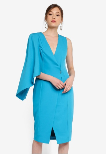 c33d595b9d191 Lavish Alice blue Metal Clasp Wrap Dress With Half Cape D729AAA4414F0BGS_1