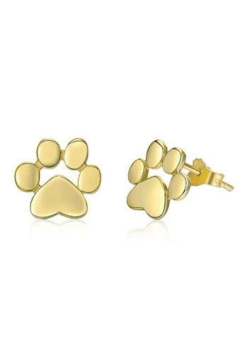 925 Signature 925 SIGNATURE Solid 925 Sterling Silver Animal Paw Print Gold Stud Earrings 25844AC8430601GS_1