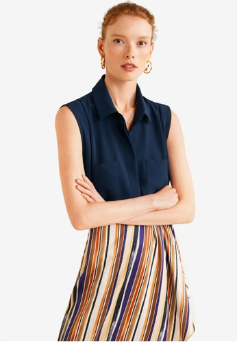 Mango blue Sleeveless Shirt 4F65AAABC3F26DGS_1
