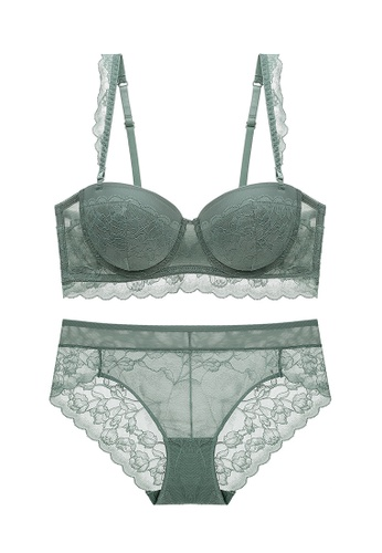 ZITIQUE green Sexy Push Up Lace Lingerie Set (Bra And Underwear) - Green 6452AUS69881C9GS_1