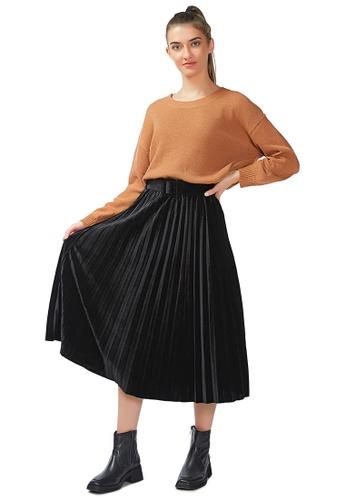 London Rag black Accordion Pleated Long Skirt in Black EA3A8AAEEE48A9GS_1