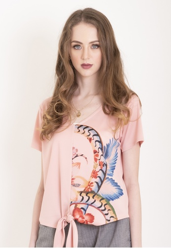 Chain pink Blush Pink Anna Blouse With Knot And Floral Print 92E20AAE9A5152GS_1